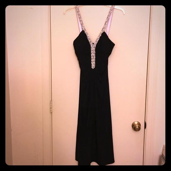 Js Boutique Dresses Black Dress With Rhinestone Straps Poshmark